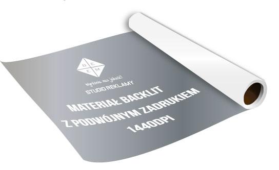 Materiał backlit z którego wykonywane jest lico stosowane przy produkcji kasetonów w systemie naciąganego lica