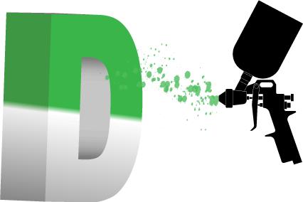 Malowanie liter styrodurowych - ilustracja