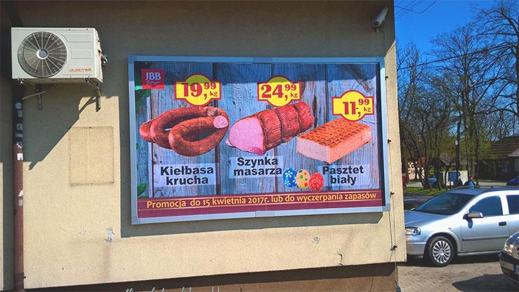 Tablica billboardowa wisząca z plakatem na papierze blueback - Strzeżów